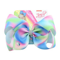 8 Inch JOJO SIWA Girls Kids Bow Rainbow Bowknot Hair Clips Cosplay