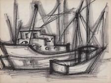 JEANETTE WELTY CHELF Pen Drawing ABSTRACT IMPRESSIONISM BOATS IN HARBOUR c1960