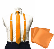 Skinny Neck ties suspenders and & Pocket Square Hankie Set Formal Party Wedding