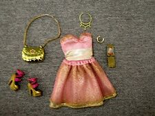 Barbie-Clothes- Dress-Pink Gold-Shoes-Purse-Jewelry- Accessories Lot C17