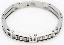 Mens Thick 21cm Silver Stainless Steel Handcuff Gear Link Bike Chain Bracelet B3