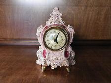 VINTAGE LANSHIRE SHELF MANTLE PORCELAIN CHINA ELECTRIC CLOCK PINK MAUVE GOLD