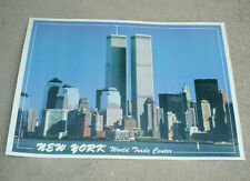 Vtg New York City Skyline WORLD TRADE CENTER TWIN TOWERS Poster 14x20 Card Stock