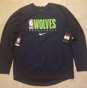 New Nike NBA Minnesota Timberwolves On Court Pullover Mens Large $90 NWT Navy