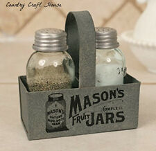 New Primitive Country Farmhouse MASON JAR SALT PEPPER SET Caddy Holder Bsket