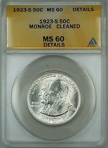 1923-S Monroe Commemorative Silver 50c ANACS MS-60 Details Cleaned (Better Coin)