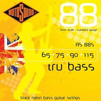 ROTOSOUND RS88S BLACK NYLON Coated 4 STRING BASS GUITAR STRINGS SHORT SCALE
