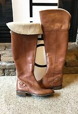 NIB Ann Taylor Loft Percy Shearling Riding Brown Leather Boots Size 6.5 $198.00