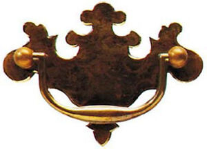 """4.25"""" Antique Style Solid Brass Plate Drawer Handle 1514A/B"""