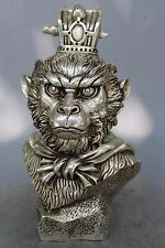 China silver carved buddhism lucky Handsome Monkey King head sculpture Statue