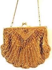 VTG Gold tone Party Handbag  Purse Clam shell Style  Art Deco Design Evening Bag
