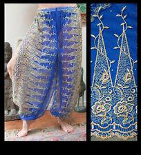 Harem Pants Belly Dance Blue w/ Gold Brocade Slit 7