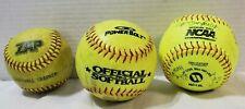 3 Used Yellow Neon Softballs Zap Power Bolt + Worth signed Suny Binghamton 2007