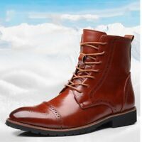 Men's Oxfords Leather Knight Boots Warm Brogue High Top Wing Tip Shoes