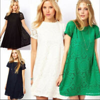 Fashion Women Short Sleeve Lace Floral Party Cocktail Casual Mini Loose Dress