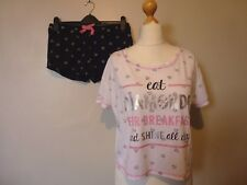 New Look Diamonds Pyjama Set T Shirt & Shorts Size Petite 12/14 BNWT RRP £16.98