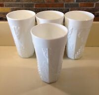"""Set Of 4 Colony Harvest Grape Milk Glass 6"""" Tumblers By Indiana Glass"""