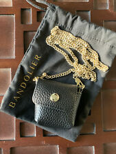 Bandolier Riley Leather Chain AirPod Crossbody Pouch Black/Gold