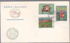 ITALIA BUSTA FDC CAVALLINO POSTE 1975 GIORNATA FRANCOBOLLO ANNULLO RIMINI FIABE