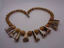 WOODEN BEADED NECKLACE WITH CONICAL SHELL BEADS FESTIVAL PROM PARTY