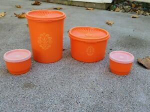 Lot of 4 Vintage Orange Tupperware Canisters w Lids and 2 Smaller Containers