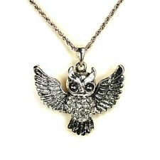 SPARKLING OWL NECKLACE Rhinestone Bird Crystal Pendant NEW Flying Wing Jewelry