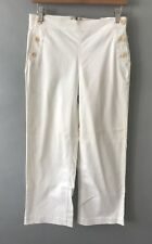 Women's J.CREW White Wide Leg Cropped Chino Trouser Pants with Button Detail 4