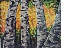 "White Birch Abstract, Original Acrylic Painting.11""x 14"" Pamela Kivi.OOAK"
