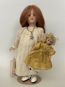 "2004 UFDC ""Popum's Katy & Maguerite"" 8.5"" Jointed Wood/ Bisque Doll Wendy Lawton"