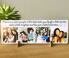 """11x4"""" Personalised Wood Photo Quote Plaque Friendship Best Friend Present NEW"""