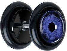 Pair of Blue Eye FAKE CHEATER FAKE EAR GAUGES PLUGS EARRINGS 5181