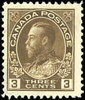 Mint NG 1918 Canada F+ Scott #108 King George V Admiral Stamp