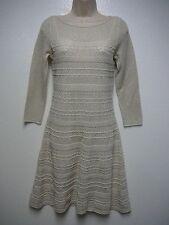 Lauren Ralph Lauren Metallic Pointelle Knit 3/4 Sleeve Sweater Dress M New