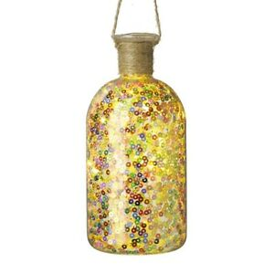 Hanging Sequined straight light up bottle Christmas Decoration