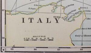 "Vintage 1903 ITALY Map 11""x14"" Old Antique Original CORSICA ROME SARDINIA SICILY"