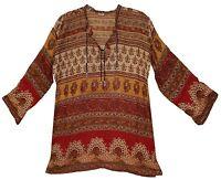 Indian Boho Cotton Ethnic Top Hippie Blouse Retro Gypsy Tunic Dress Blusa Vtg