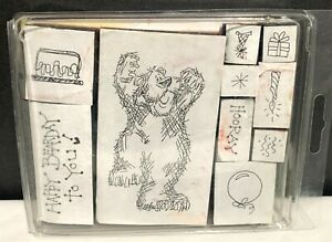 Judith BEAR Teddy Birthday Foam Rubber Stamps Set