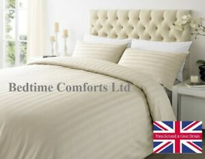 7' EMPEROR SIZE CREAM Hotel Quality SATIN STRIPE DUVET COVER SET 100% Cotton