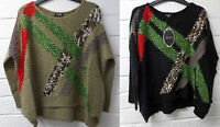 Womens Ladies New Chunky Knitted Over sized Baggy Aztec Stripe Jumper 8-14 4861