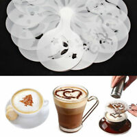 16Pcs Coffee Cake Cupcake Plastic Stencil Template Mold Decoration Tool