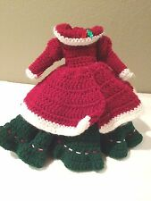 Vintage Mrs. Clause Red Green baby Doll Dress Hand Crocheted -Beautiful!