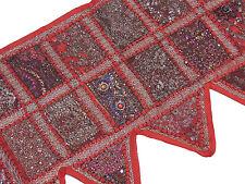 "Red Stylish Window Valance Topper - Kundan Sari Patchwork Door Hanging Toran 60"""