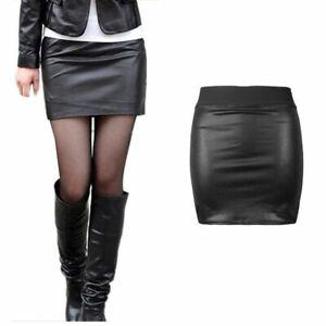 NEW WOMENS BLACK PVC WET LOOK LEATHER MINI PENCIL BODYCON SKIRT SIZE 6-22 WeTsHT