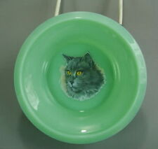 Child's Cereal Bowl Jadeite Glass With Long Grey Haired Cat Decal Jadite