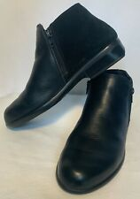 NAOT Womens Size 38 Helm Ankle Boots Black Raven Leather/Suede Double Zip Clean