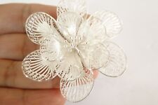 Handmade Filigree Flower Floral No Stone 925 Sterling Silver Pin Brooch