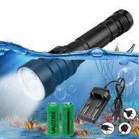 Professional 4xXM-L T6 LED Scuba Diving Flashlight 2x18650 Underwater 100m Torch