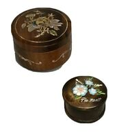 Set 2 Round Wooden Boxes Inlay Floral Design on Lid Pink and Painted Flowers