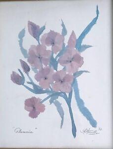 """HENRY HOWELLS FLOWER ART """"PLUMERIA"""" 1992 FRAMED & SIGNED"""