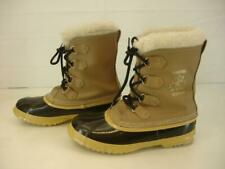 Womens 9 M Sorel Kaufman Manitou Snow Boots Canada Buff Tan Leather Wool Liners
